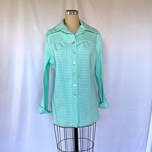 Vintage 70s Plaid Jacket Button Up Blouse M